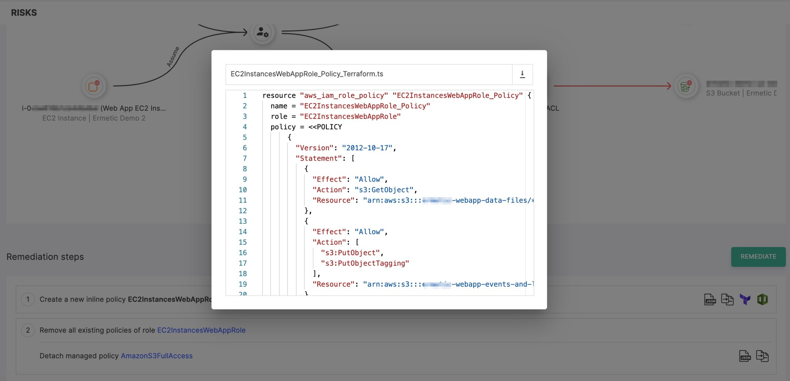 Figure 14 - Terraform script ready to use for applying the suggested inline policy