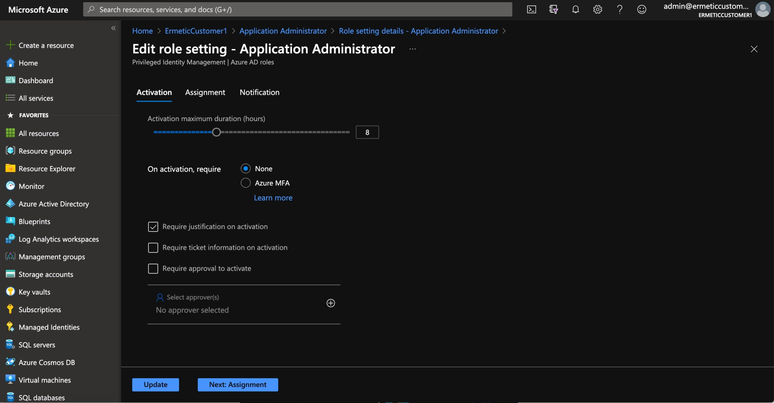 Figure 13 - Settings for a role in the Azure PIM tool